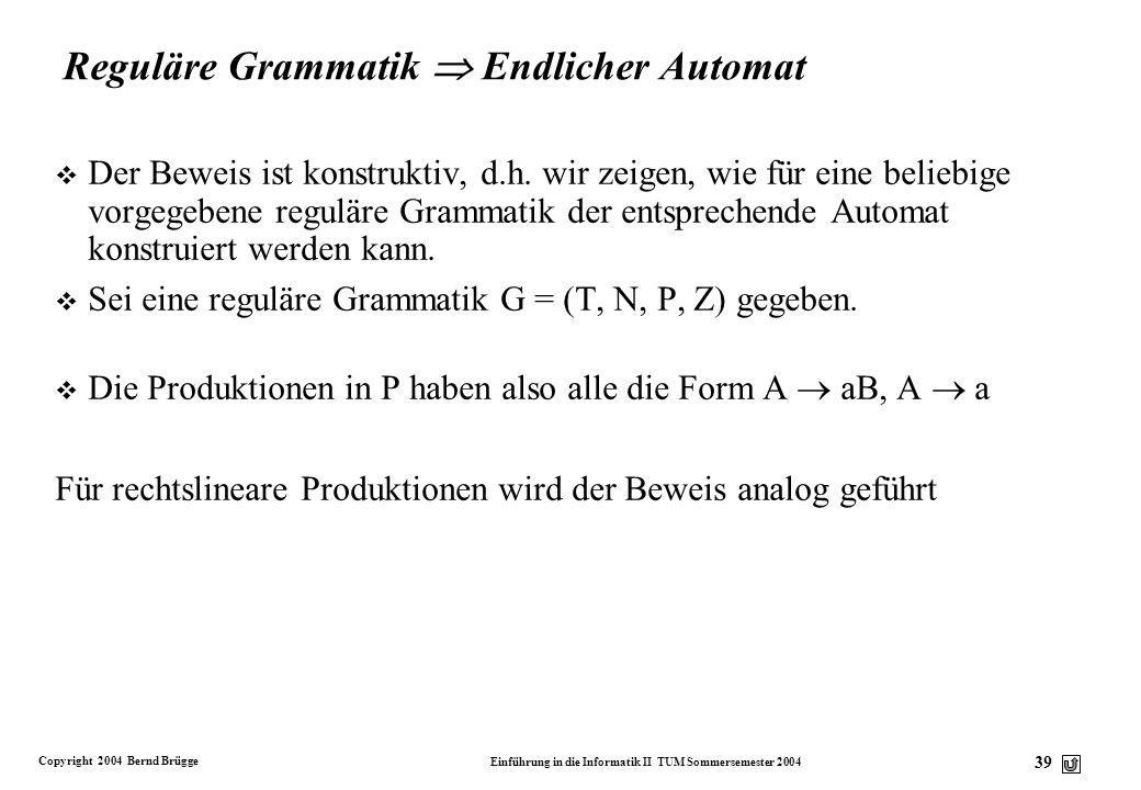 Copyright 2004 Bernd Brügge Einführung in die Informatik II TUM Sommersemester 2004 38 Endliche Automaten und reguläre Grammatiken Zurück zu unserem S