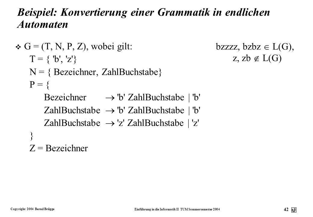 Copyright 2004 Bernd Brügge Einführung in die Informatik II TUM Sommersemester 2004 41 Endlicher Automat Reguläre Grammatik P:P: 1.Für jedes (A, a) =