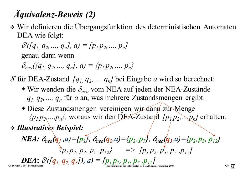 Copyright 2004 Bernd Brügge Einführung in die Informatik II TUM Sommersemester 2004 58 Äquivalenz-Beweis v Wir beginnen mit einem nicht-deterministisc