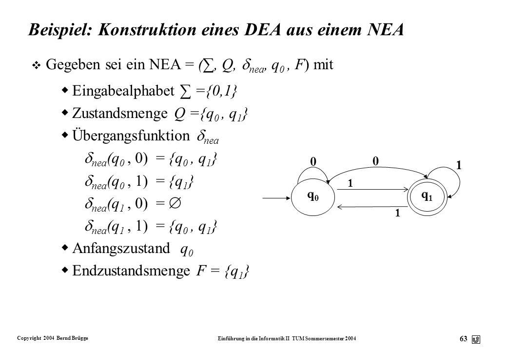 Copyright 2004 Bernd Brügge Einführung in die Informatik II TUM Sommersemester 2004 62 Äquivalenz-Beweis (5) v Um diese Richtung des Beweises zu beend