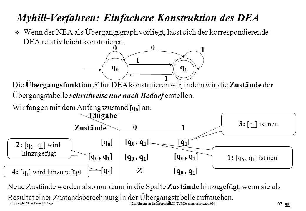 Copyright 2004 Bernd Brügge Einführung in die Informatik II TUM Sommersemester 2004 64 Beispiel: Konstruktion eines DEA aus einem NEA (2) v Wir konstr