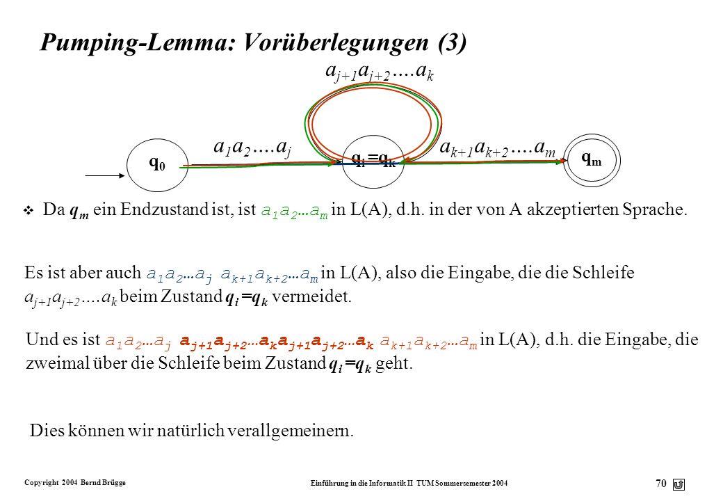 Copyright 2004 Bernd Brügge Einführung in die Informatik II TUM Sommersemester 2004 69 Pumping-Lemma: Vorüberlegungen (2) Schauen wir uns unsere Überg