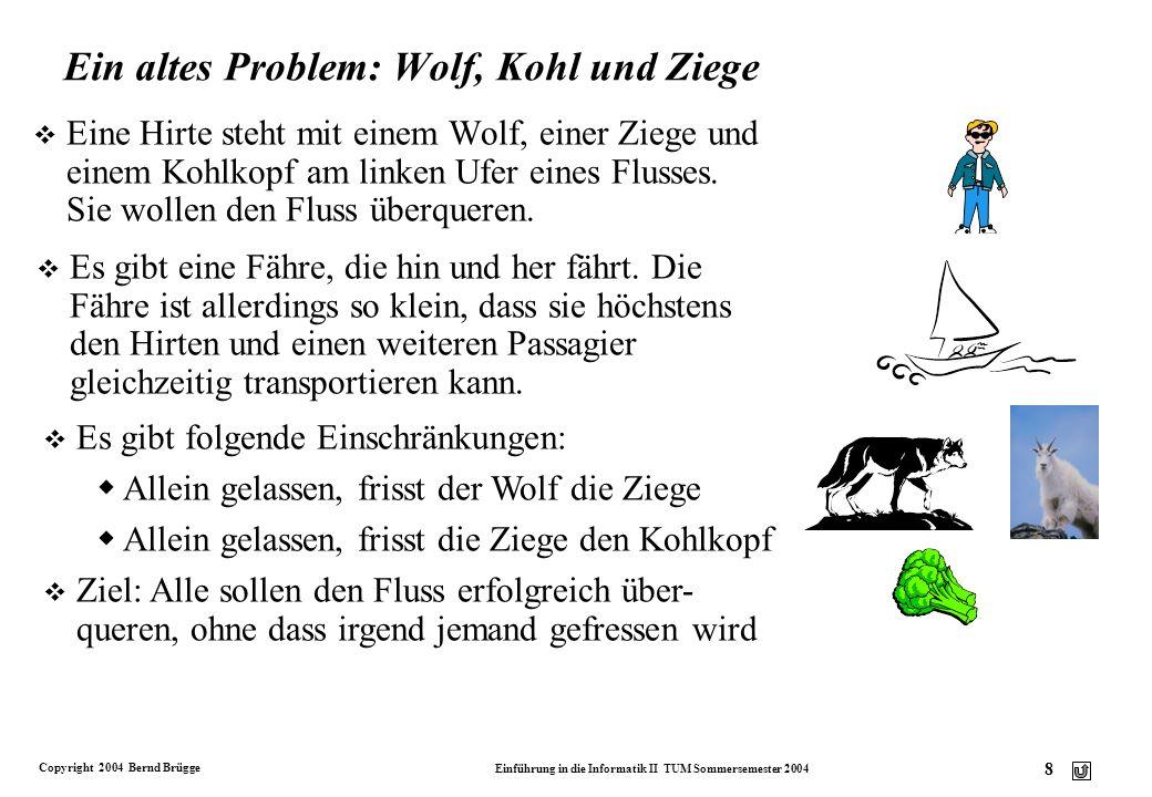 Copyright 2004 Bernd Brügge Einführung in die Informatik II TUM Sommersemester 2004 7 Beispiel für einen endlichen Automaten v Die Steuerung eines Fah