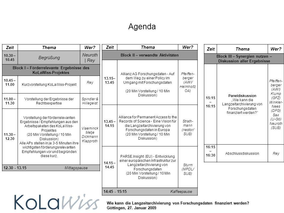 Wie kann die Langzeitarchivierung von Forschungsdaten finanziert werden? Göttingen, 27. Januar 2009 Agenda ZeitThemaWer? Block III – Synergien nutzen