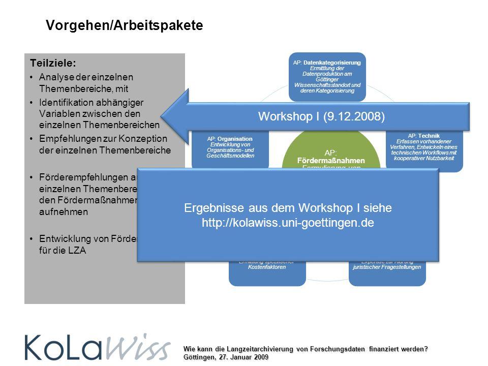 Wie kann die Langzeitarchivierung von Forschungsdaten finanziert werden? Göttingen, 27. Januar 2009 Vorgehen/Arbeitspakete AP: Datenkategorisierung Er