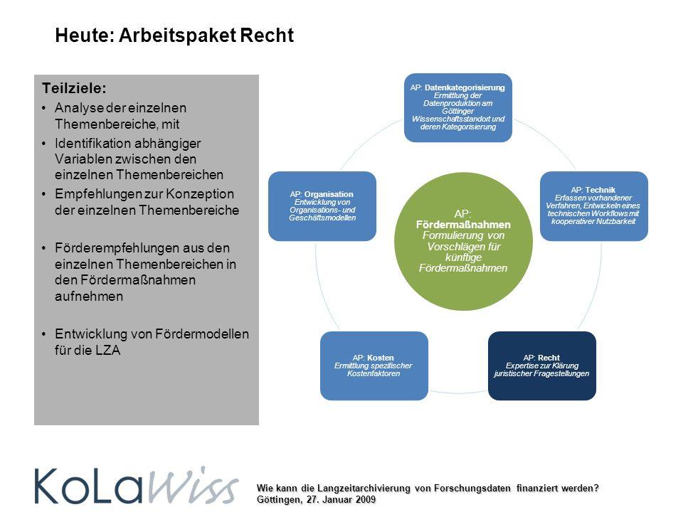 Wie kann die Langzeitarchivierung von Forschungsdaten finanziert werden? Göttingen, 27. Januar 2009 Heute: Arbeitspaket Recht AP: Datenkategorisierung