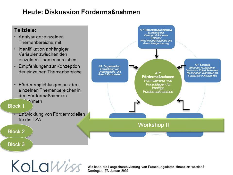 Wie kann die Langzeitarchivierung von Forschungsdaten finanziert werden? Göttingen, 27. Januar 2009 Heute: Diskussion Fördermaßnahmen AP: Datenkategor