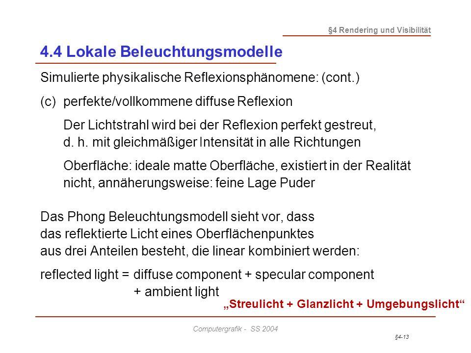 §4-13 §4 Rendering und Visibilität Computergrafik - SS 2004 4.4 Lokale Beleuchtungsmodelle Simulierte physikalische Reflexionsphänomene: (cont.) (c)perfekte/vollkommene diffuse Reflexion Der Lichtstrahl wird bei der Reflexion perfekt gestreut, d.