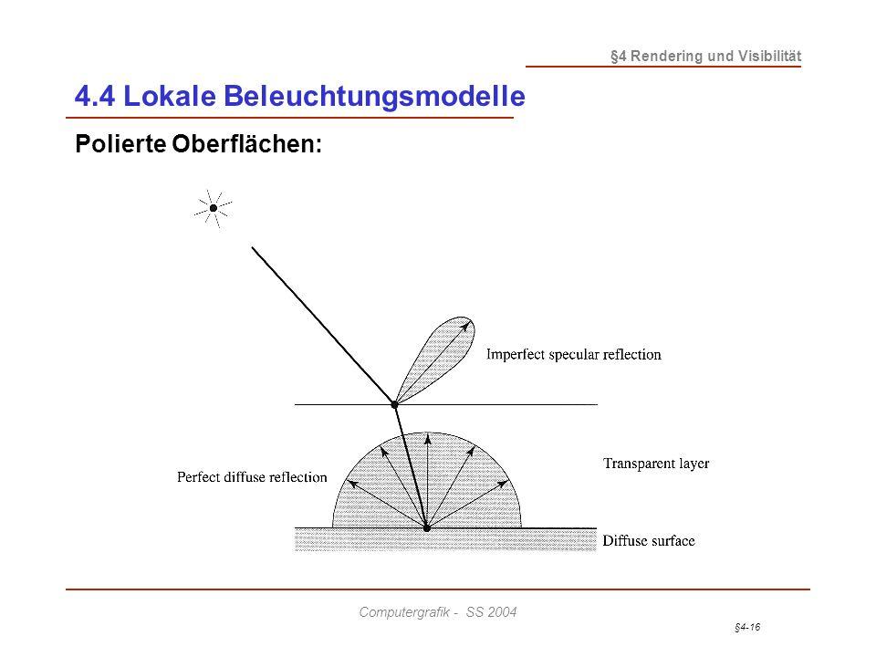 §4-16 §4 Rendering und Visibilität Computergrafik - SS 2004 4.4 Lokale Beleuchtungsmodelle Polierte Oberflächen: