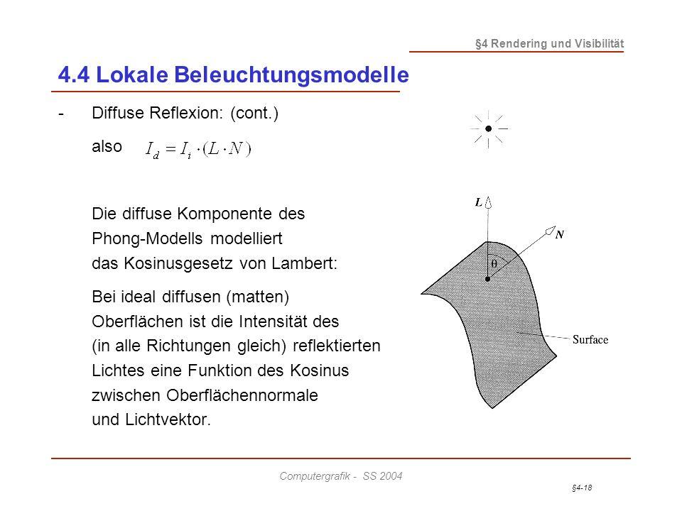 §4-18 §4 Rendering und Visibilität Computergrafik - SS 2004 4.4 Lokale Beleuchtungsmodelle -Diffuse Reflexion: (cont.) also Die diffuse Komponente des Phong-Modells modelliert das Kosinusgesetz von Lambert: Bei ideal diffusen (matten) Oberflächen ist die Intensität des (in alle Richtungen gleich) reflektierten Lichtes eine Funktion des Kosinus zwischen Oberflächennormale und Lichtvektor.