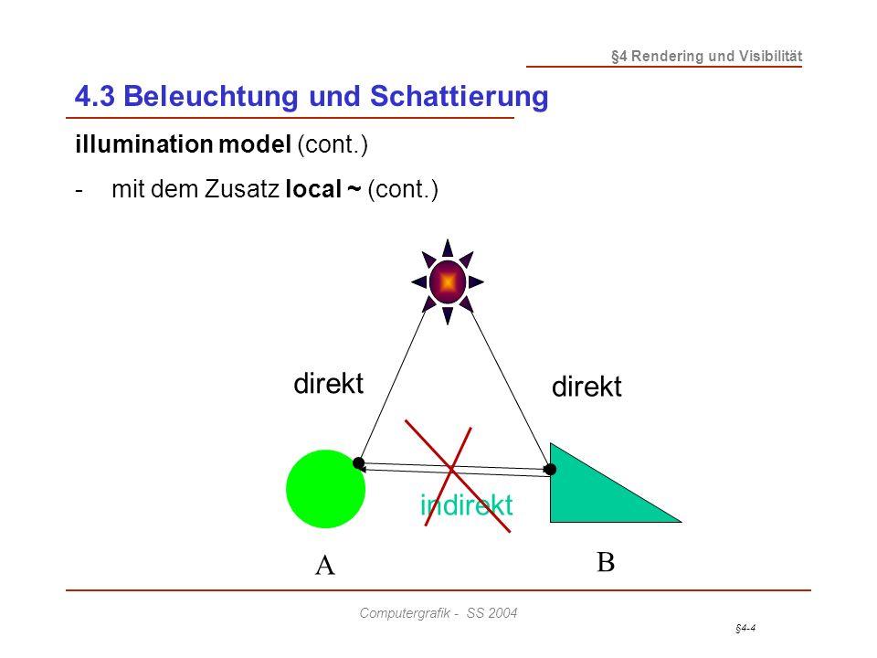 §4-4 §4 Rendering und Visibilität Computergrafik - SS 2004 4.3 Beleuchtung und Schattierung illumination model (cont.) -mit dem Zusatz local ~ (cont.) A B direkt indirekt