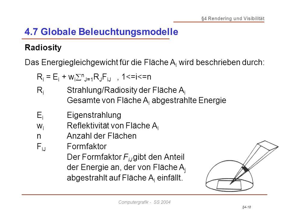 §4-18 §4 Rendering und Visibilität Computergrafik - SS 2004 4.7 Globale Beleuchtungsmodelle Radiosity Das Energiegleichgewicht für die Fläche A i wird