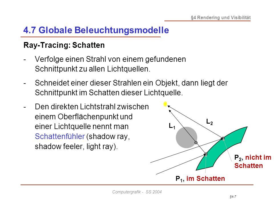 §4-7 §4 Rendering und Visibilität Computergrafik - SS 2004 4.7 Globale Beleuchtungsmodelle Ray-Tracing: Schatten - Verfolge einen Strahl von einem gef