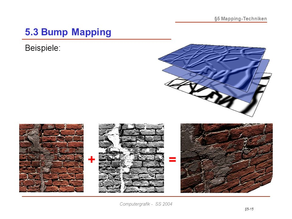 §5-15 §5 Mapping-Techniken Computergrafik - SS 2004 5.3 Bump Mapping Beispiele: