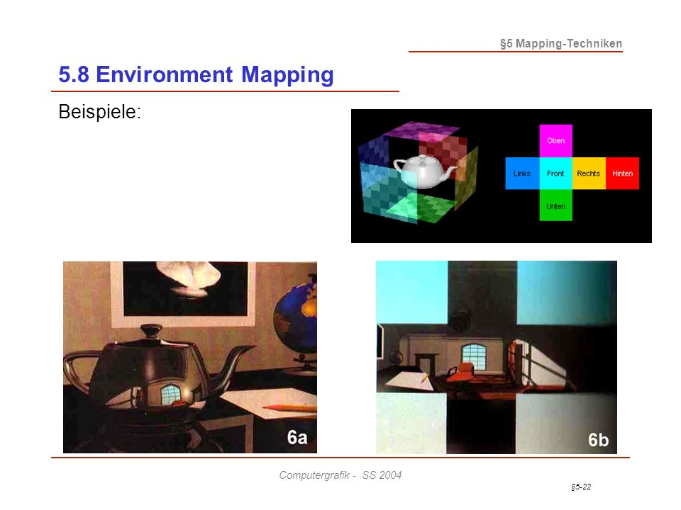 §5-22 §5 Mapping-Techniken Computergrafik - SS 2004 5.8 Environment Mapping Beispiele: