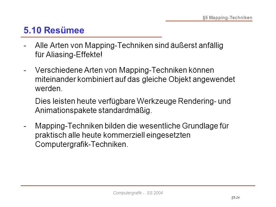 §5-24 §5 Mapping-Techniken Computergrafik - SS 2004 5.10 Resümee -Alle Arten von Mapping-Techniken sind äußerst anfällig für Aliasing-Effekte.