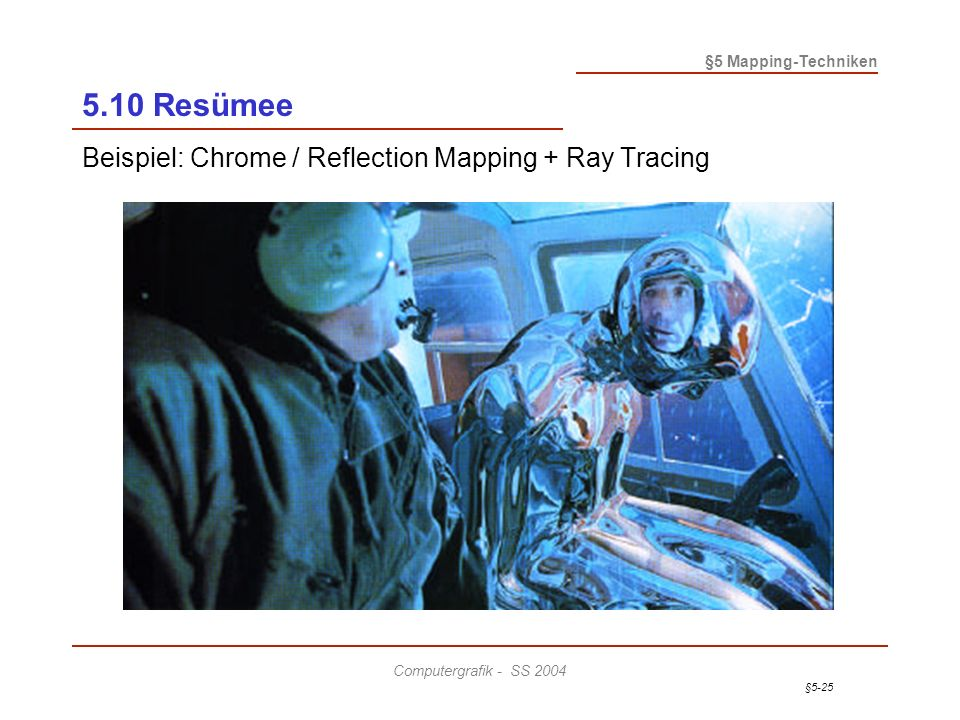 §5-25 §5 Mapping-Techniken Computergrafik - SS 2004 5.10 Resümee Beispiel: Chrome / Reflection Mapping + Ray Tracing