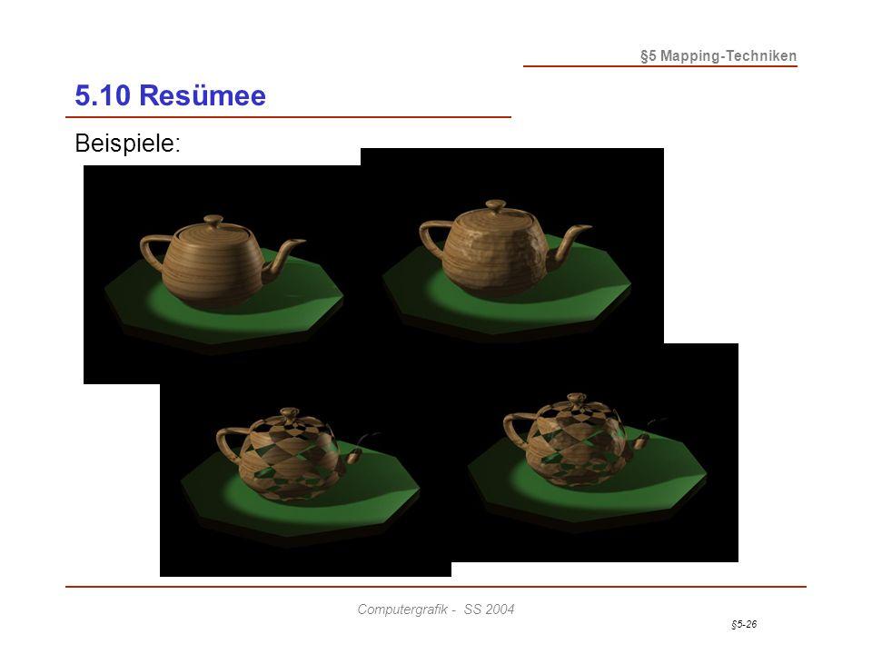 §5-26 §5 Mapping-Techniken Computergrafik - SS 2004 5.10 Resümee Beispiele: