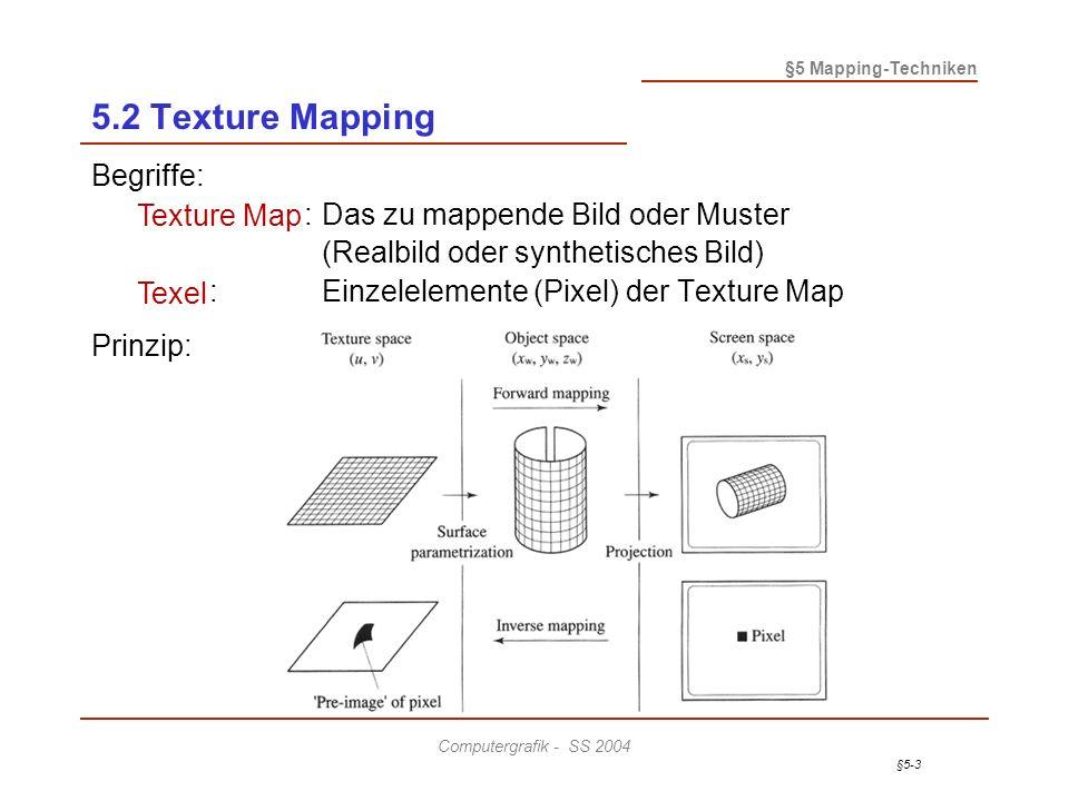 §5-3 §5 Mapping-Techniken Computergrafik - SS 2004 5.2 Texture Mapping Begriffe: Texture Map:Das zu mappende Bild oder Muster (Realbild oder synthetisches Bild) Texel:Einzelelemente (Pixel) der Texture Map Prinzip: Texture Map Texel