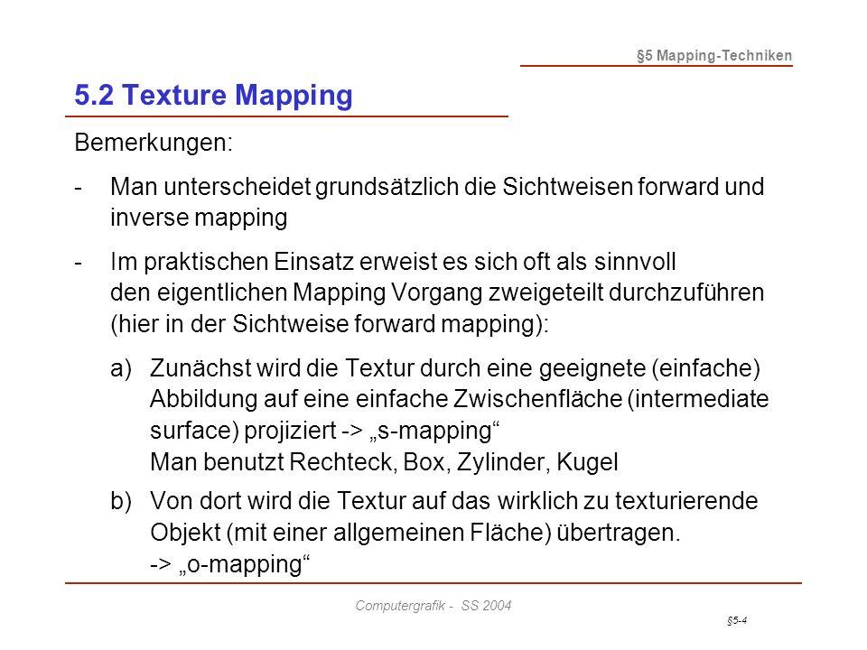 §5-5 §5 Mapping-Techniken Computergrafik - SS 2004 5.2 Texture Mapping Beispiel: Zwischenobjekte