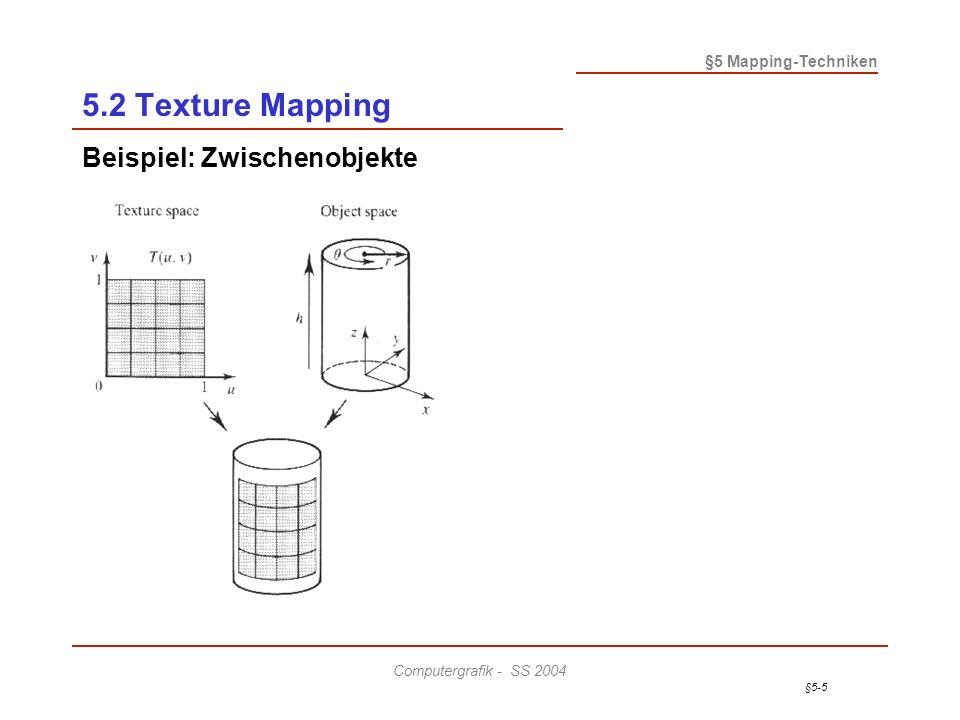 §5-6 §5 Mapping-Techniken Computergrafik - SS 2004 5.2 Texture Mapping Beispiel: Zwischenobjekte