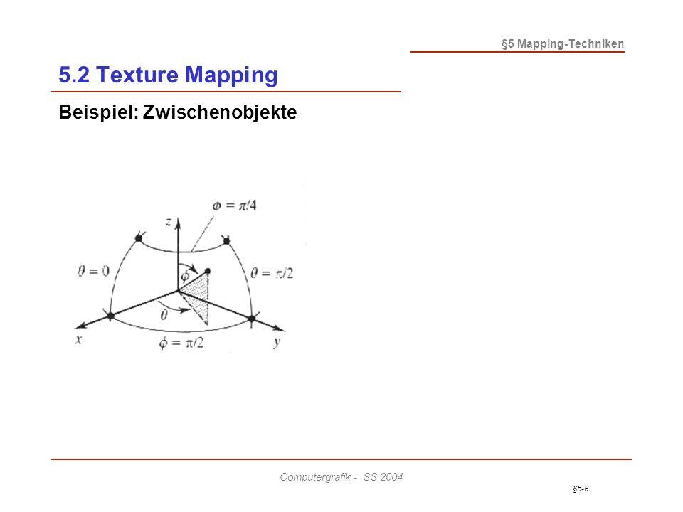 §5-7 §5 Mapping-Techniken Computergrafik - SS 2004 5.2 Texture Mapping Beispiel: Zwischenobjekte Planar Zylinder Kugel