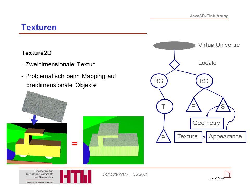 Java3D-10 Java3D-Einführung Computergrafik - SS 2004 Texturen Texture2D - Zweidimensionale Textur - Problematisch beim Mapping auf dreidimensionale Ob