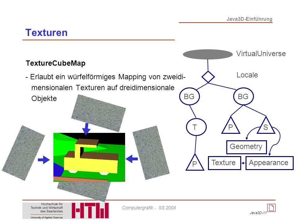 Java3D-11 Java3D-Einführung Computergrafik - SS 2004 Texturen TextureCubeMap - Erlaubt ein würfelförmiges Mapping von zweidi- mensionalen Texturen auf