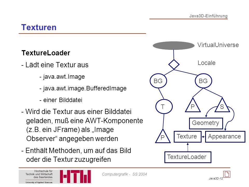 Java3D-12 Java3D-Einführung Computergrafik - SS 2004 TextureLoader - Lädt eine Textur aus - java.awt.Image - java.awt.image.BufferedImage - einer Bild