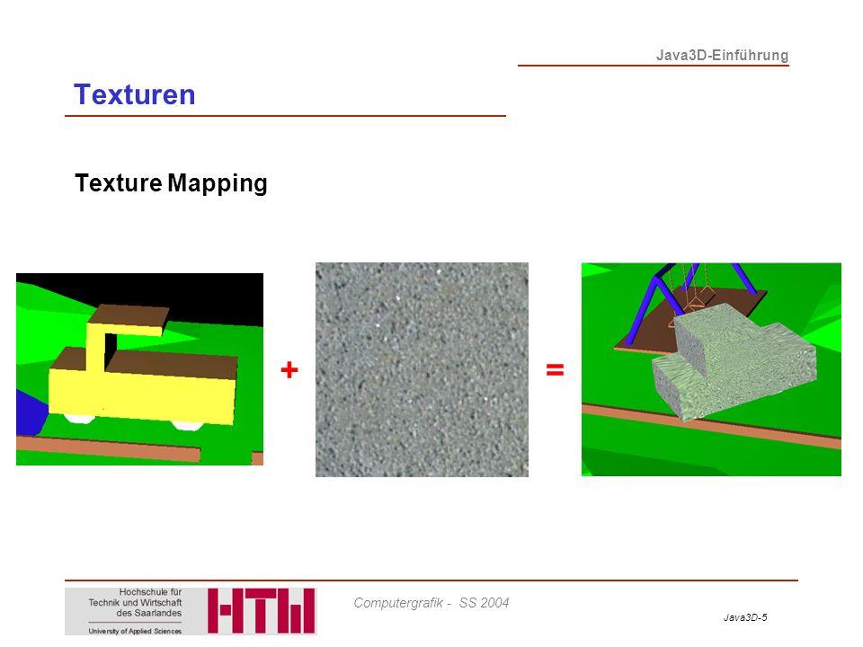 Java3D-6 Java3D-Einführung Computergrafik - SS 2004 Texturen Wiederholung: Shape3D - Enthält Spezifikation für komplexe 3D Geometrie (z.B.