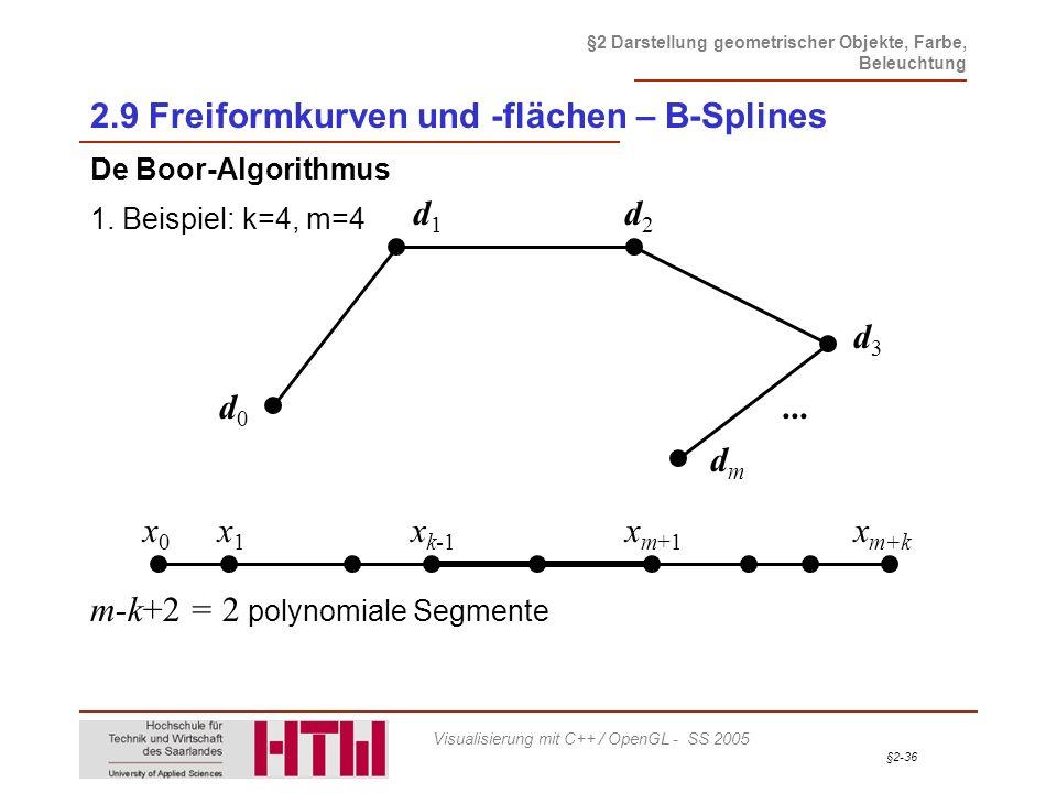 §2-36 §2 Darstellung geometrischer Objekte, Farbe, Beleuchtung Visualisierung mit C++ / OpenGL - SS 2005 2.9 Freiformkurven und -flächen – B-Splines D
