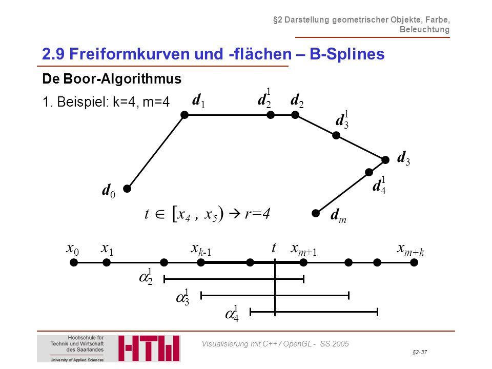 §2-37 §2 Darstellung geometrischer Objekte, Farbe, Beleuchtung Visualisierung mit C++ / OpenGL - SS 2005 2.9 Freiformkurven und -flächen – B-Splines D