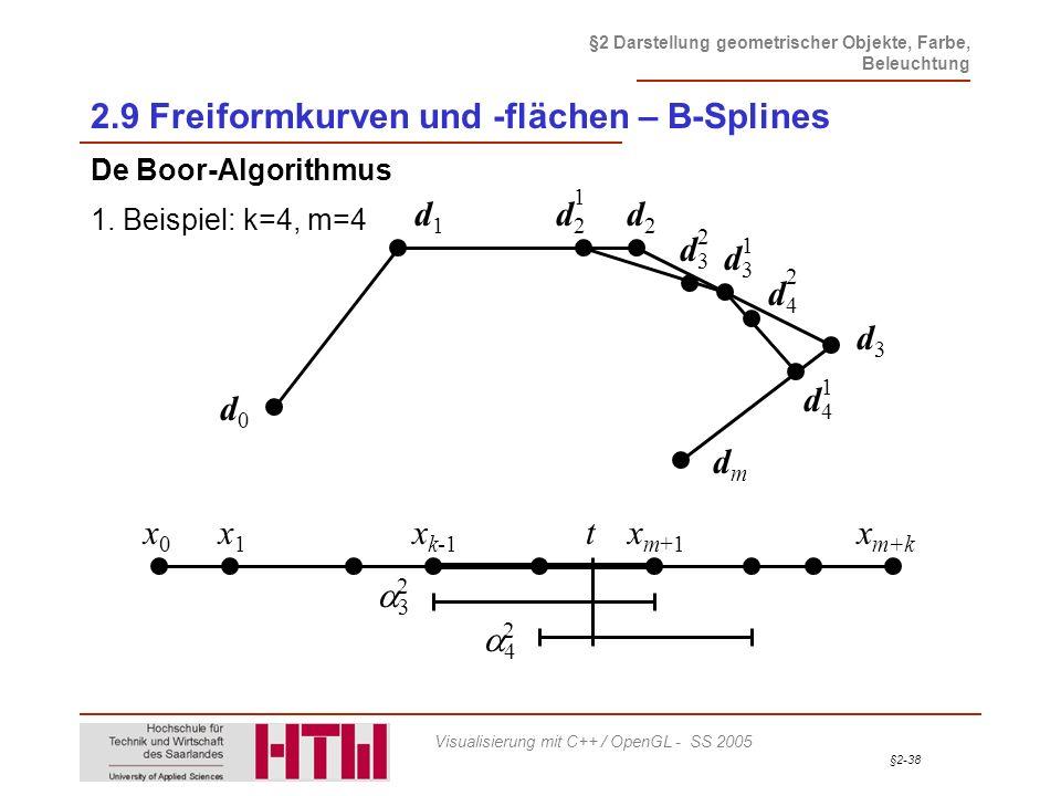 §2-38 §2 Darstellung geometrischer Objekte, Farbe, Beleuchtung Visualisierung mit C++ / OpenGL - SS 2005 2.9 Freiformkurven und -flächen – B-Splines D