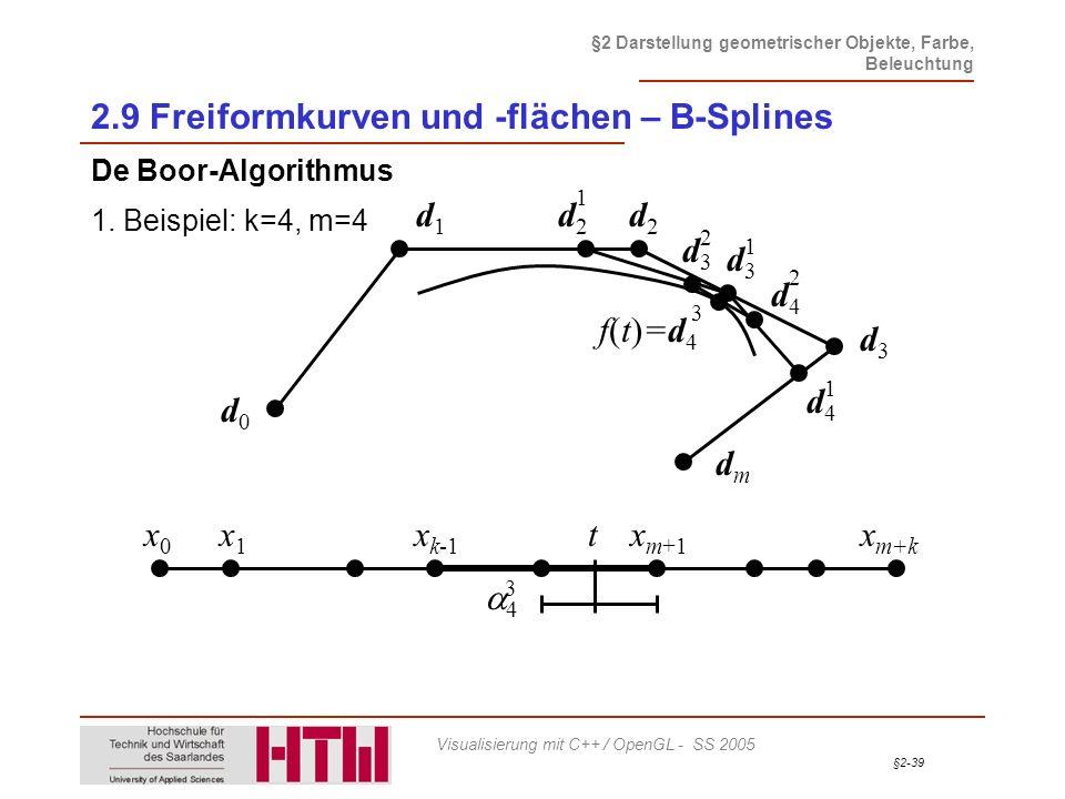 §2-39 §2 Darstellung geometrischer Objekte, Farbe, Beleuchtung Visualisierung mit C++ / OpenGL - SS 2005 2.9 Freiformkurven und -flächen – B-Splines D