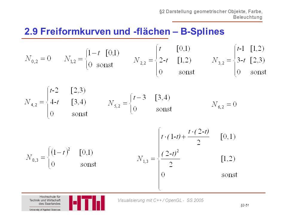 §2-51 §2 Darstellung geometrischer Objekte, Farbe, Beleuchtung Visualisierung mit C++ / OpenGL - SS 2005 2.9 Freiformkurven und -flächen – B-Splines