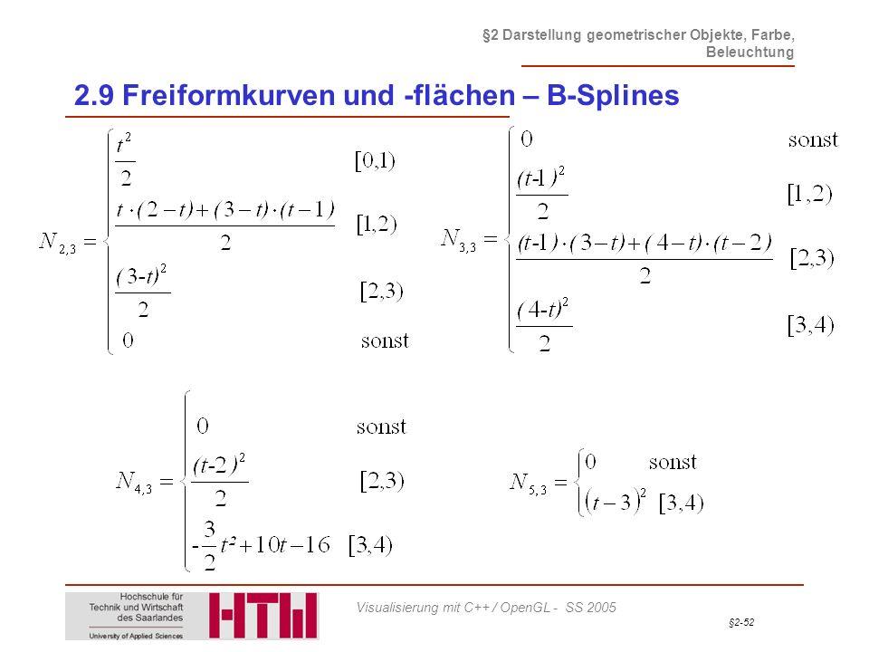 §2-52 §2 Darstellung geometrischer Objekte, Farbe, Beleuchtung Visualisierung mit C++ / OpenGL - SS 2005 2.9 Freiformkurven und -flächen – B-Splines