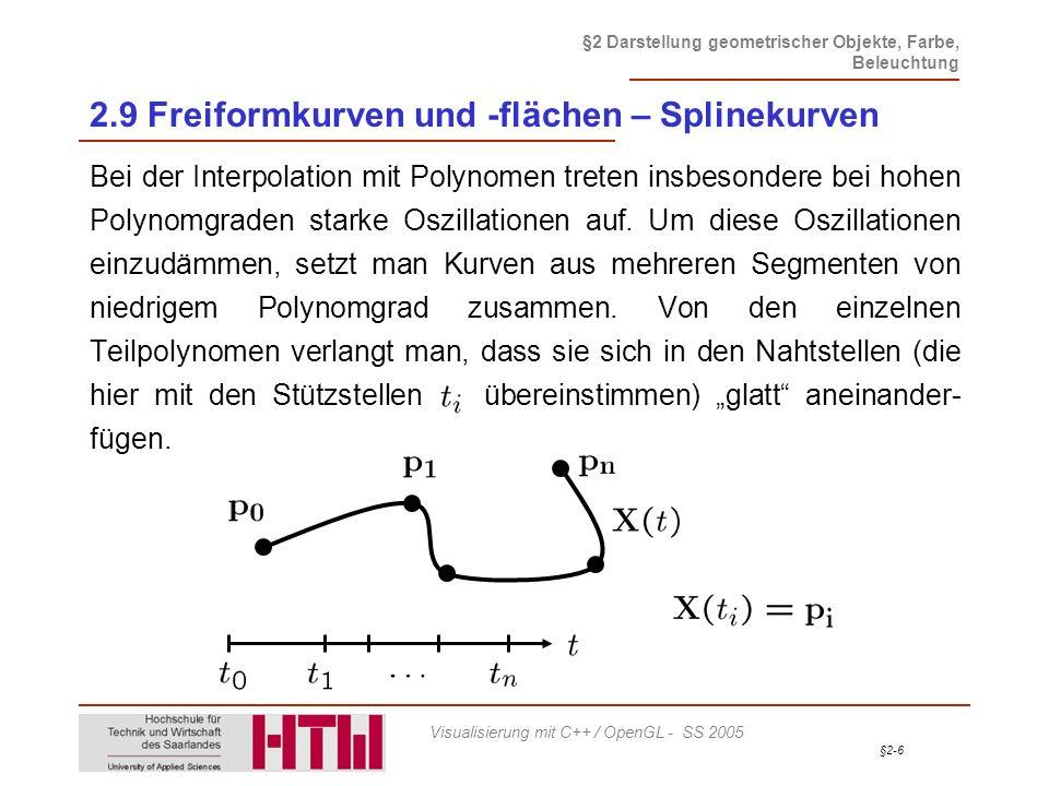 §2-67 §2 Darstellung geometrischer Objekte, Farbe, Beleuchtung Visualisierung mit C++ / OpenGL - SS 2005 2.9 Freiformkurven und -flächen – Darstellung Beispiel einer Callback-Funktion void CALLBACK nurbsError(GLenum errorCode) { const GLubyte *estring; estring = gluErrorString(errorCode); fprintf (stderr, Nurbs Error: %s\n , estring); exit (0); }