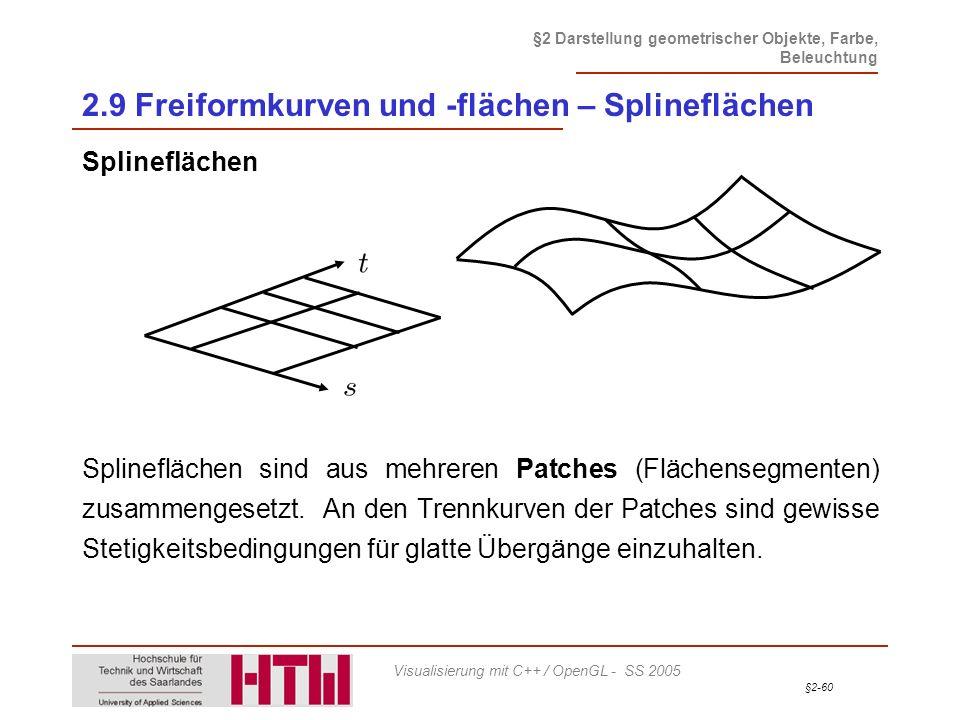 §2-60 §2 Darstellung geometrischer Objekte, Farbe, Beleuchtung Visualisierung mit C++ / OpenGL - SS 2005 2.9 Freiformkurven und -flächen – Splinefläch