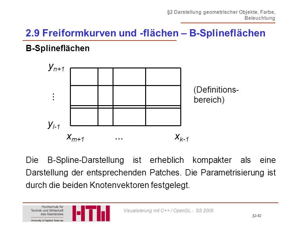 §2-62 §2 Darstellung geometrischer Objekte, Farbe, Beleuchtung Visualisierung mit C++ / OpenGL - SS 2005 2.9 Freiformkurven und -flächen – B-Splineflä