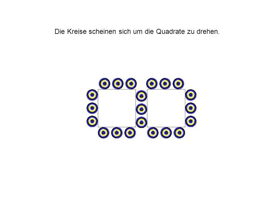 Die Kreise scheinen sich um die Quadrate zu drehen.