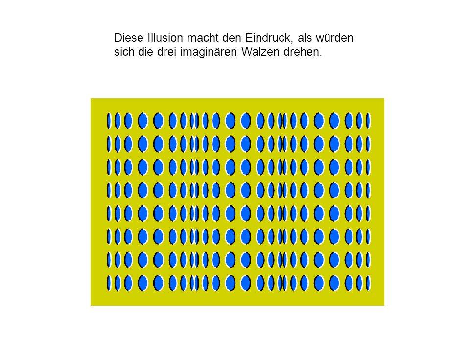 Diese Illusion macht den Eindruck, als würden sich die drei imaginären Walzen drehen.