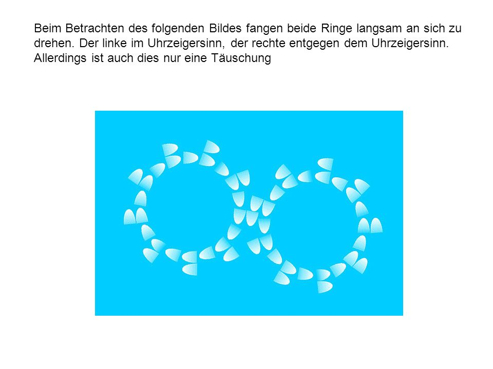 Beim Betrachten des folgenden Bildes fangen beide Ringe langsam an sich zu drehen. Der linke im Uhrzeigersinn, der rechte entgegen dem Uhrzeigersinn.