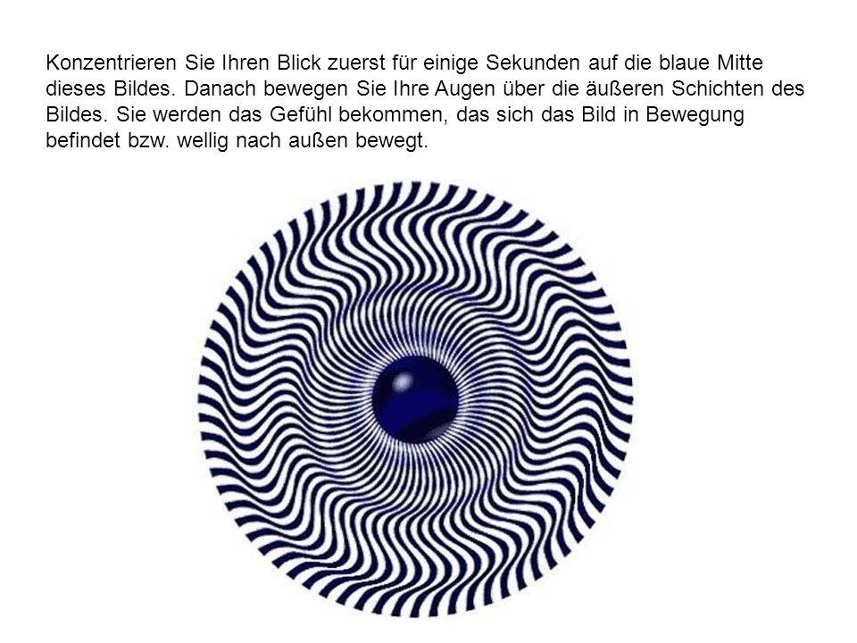 Konzentrieren Sie Ihren Blick zuerst für einige Sekunden auf die blaue Mitte dieses Bildes. Danach bewegen Sie Ihre Augen über die äußeren Schichten d
