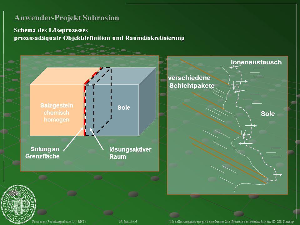 Freiberger Forschungsforum (54. BHT) 19. Juni 2003 Modellierung anthropogen beeinflusster Geo-Prozesse basierend auf einem 4D-GIS-Konzept verschiedene