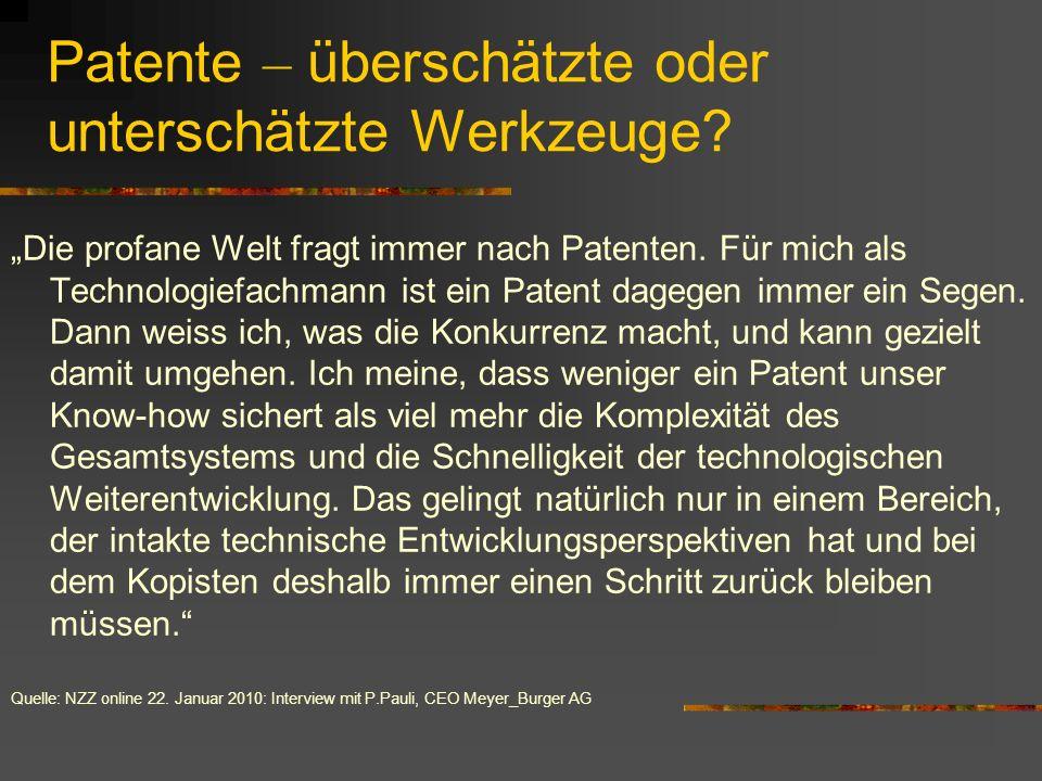 Patente – überschätzte oder unterschätzte Werkzeuge? Die profane Welt fragt immer nach Patenten. Für mich als Technologiefachmann ist ein Patent dageg