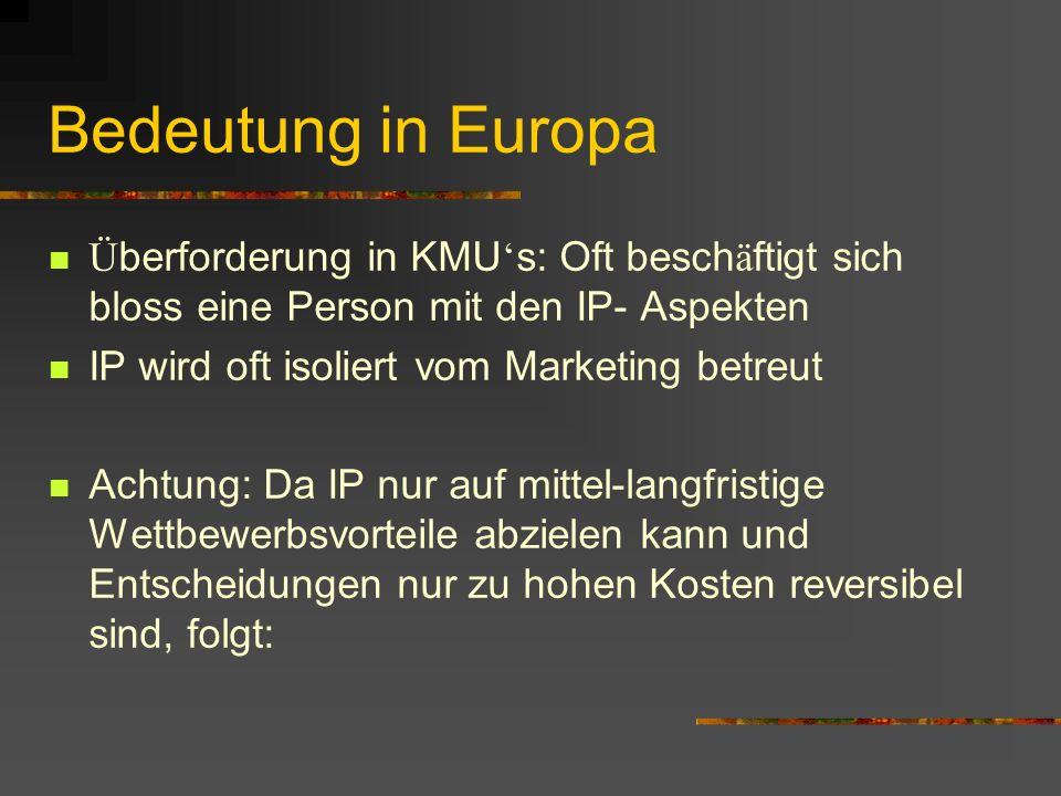 Bedeutung in Europa Ü berforderung in KMU s: Oft besch ä ftigt sich bloss eine Person mit den IP- Aspekten IP wird oft isoliert vom Marketing betreut