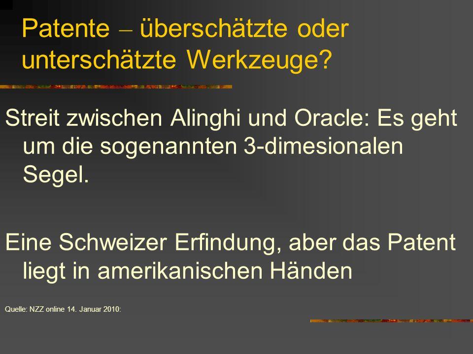 Patente – überschätzte oder unterschätzte Werkzeuge? Streit zwischen Alinghi und Oracle: Es geht um die sogenannten 3-dimesionalen Segel. Eine Schweiz