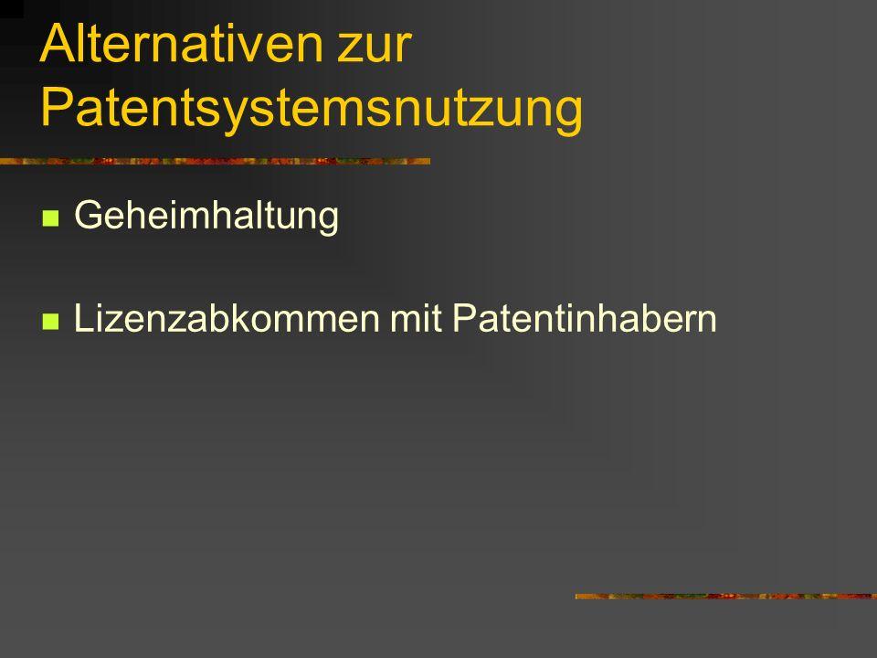 Alternativen zur Patentsystemsnutzung Geheimhaltung Lizenzabkommen mit Patentinhabern