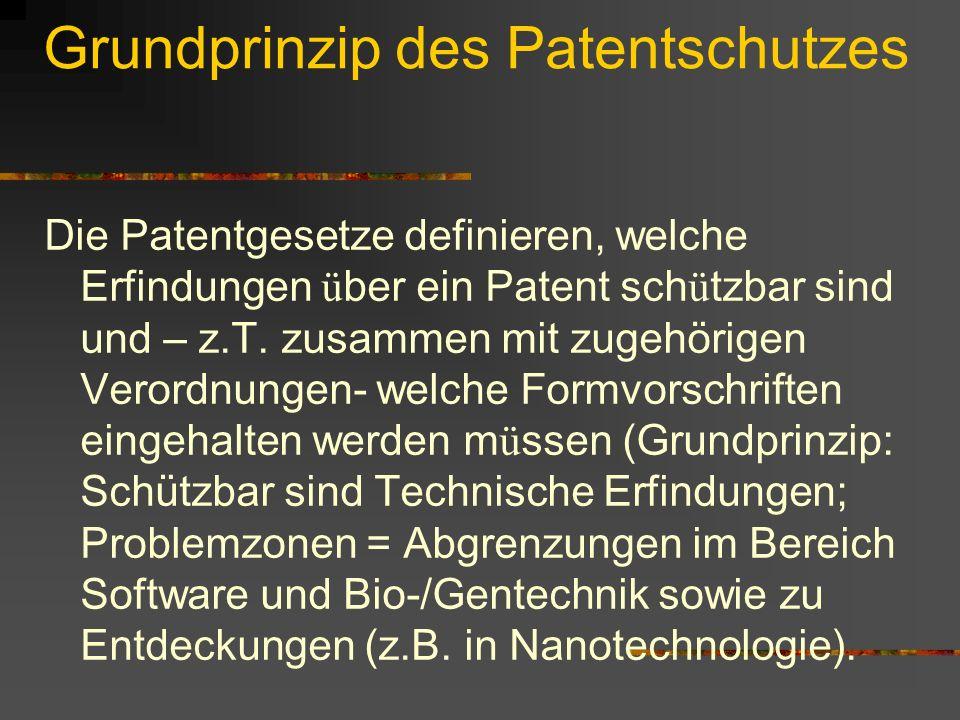 Grundprinzip des Patentschutzes Die Patentgesetze definieren, welche Erfindungen ü ber ein Patent sch ü tzbar sind und – z.T. zusammen mit zugehörigen