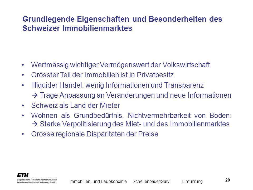 Immobilien- und BauökonomieSchellenbauer/Salvi Einführung 20 Grundlegende Eigenschaften und Besonderheiten des Schweizer Immobilienmarktes Wertmässig